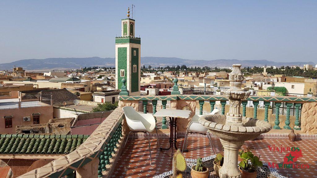 Vistas desde la azotea del Riad Malak Mequinez