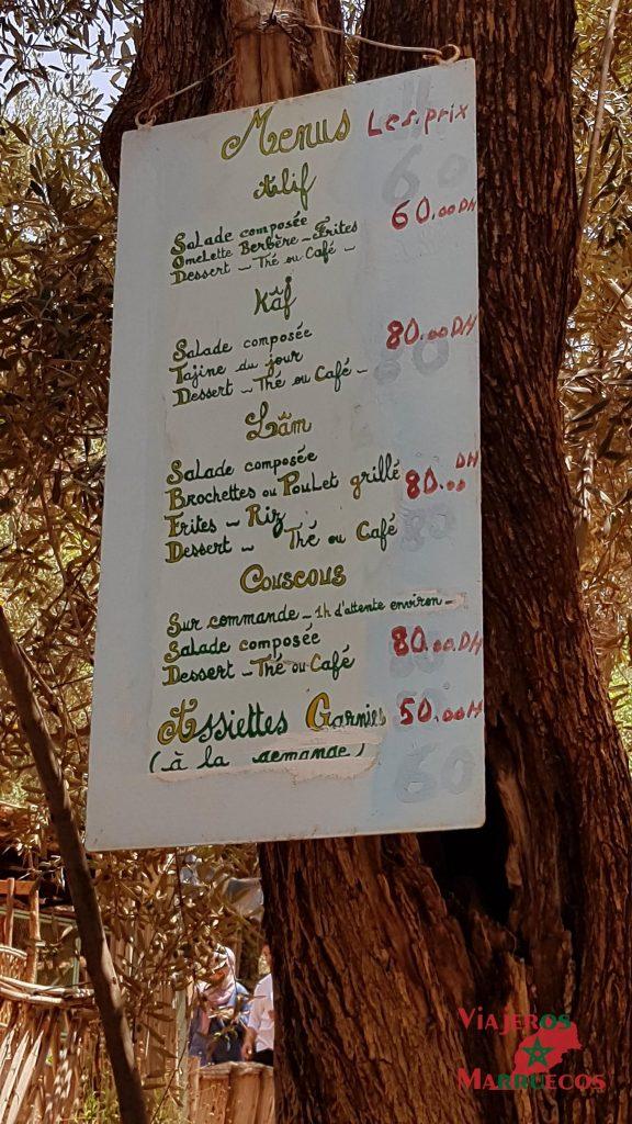 Menú para comer en las cascadas de Ouzoud